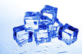 Blue tuned ice cubes — Stock Photo
