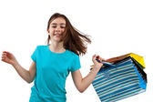 Jeune fille avec des sacs à provisions — Photo