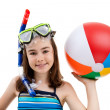 Girl ready to swim and dive — Stock Photo