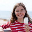 Girl eating icecream — Stock Photo