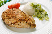 Roasted chicken fillet with white rice — Stock Photo