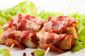 Grilled bacon kebab — 图库照片