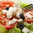 Feta cheese with tomatoes and olives — Stock Photo