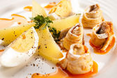 Marinated herring fillets, eggs and potatoes — Stock Photo