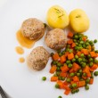 Meatballs with peas, carrot and potatoes — Stock Photo