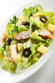 Vegetable salad with chicken meat and boiled potatoes — Stock Photo