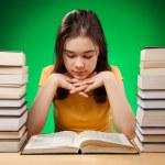Student doing her homework — Stock Photo