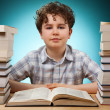 Curly boy learning at home — Stock Photo