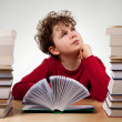 Curly boy learning at home — Stock Photo #32938713