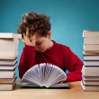 Curly boy learning at home — Stock Photo #32938747