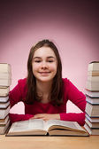 Student doing her homework — Foto Stock