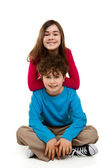 Two sitting kids — Stock Photo