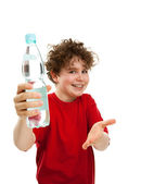 Boy holding bottle of water — Stock Photo