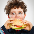 Boy eating big sandwich — Stock Photo