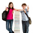 Students close to pile — Stock Photo