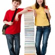 Students close to pile  — Foto Stock