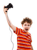 Boy using video game controller — Stock Photo