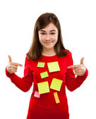 Young Girl with Sticky Notes — Stock Photo