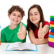Kids and pile of books — Stock Photo