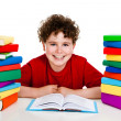 Student with pile of books — Stock Photo