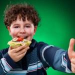 Boy eating healthy sandwich — Stock Photo #33146079