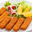Stock Photo: Fried fish fingers and vegetables