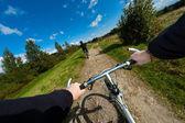 Boy biking — Stock Photo