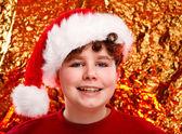 Chłopiec przebrany za świętego mikołaja — Zdjęcie stockowe
