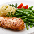 Roast chicken breast, mashed potatoes and green beans — Stock Photo #33217893