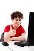 男孩用计算机 — 图库照片