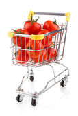 Shopping trolley full of tomatoes — Stock Photo