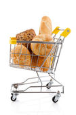 Shopping trolley full of bread and rolls — Stock Photo