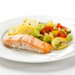 Grilled salmon, boiled potatoes and vegetables — Stock Photo