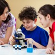 Children examining preparation — Stockfoto