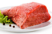Raw beef on plate — Stock Photo