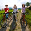 Active family biking — 图库照片