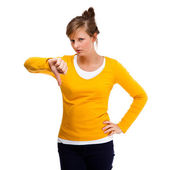 Woman showing thumbs down — Stock Photo