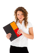 Woman with notepad — Stock Photo