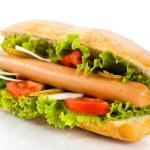 Hot dog on white background — Stock Photo