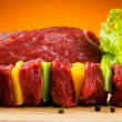 Stock Photo: Raw beef on cutting board