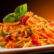 Pasta with tomato sauce and parmesan — Stockfoto