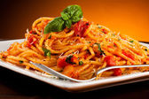 Pasta with tomato sauce and parmesan — Stock Photo