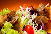 Kebab - grilled meat, bread and vegetables — Stock Photo