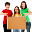 Stock Photo: Kids with blank noticeboard