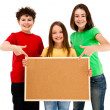 Stockfoto: Kids with blank noticeboard