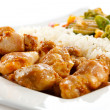 Fried chicken nuggets with rice and vegetables — ストック写真