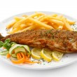 Fish dish - fried fish, French fries and vegetables — Stock Photo #33471745