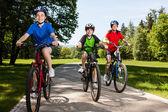 Aktiv familj cykling — Stockfoto