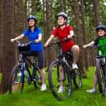 骑自行车的家庭 — 图库照片