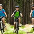 Active family biking — ストック写真